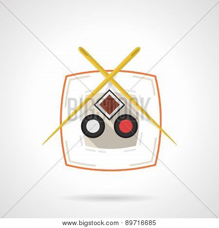 Flat vector icon for sushi dish
