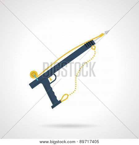 Blue harpoon flat vector icon