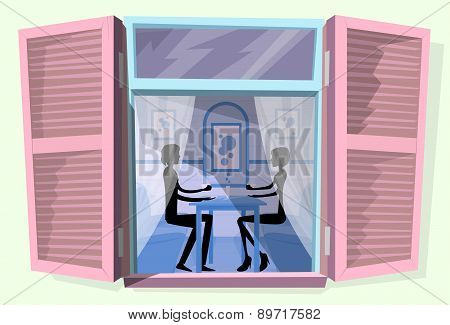 Window Shutters Couple Sitting Cafe Table Drink Coffee Romantic Love