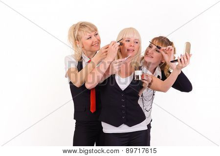 boss and two helpers, isolated on white, funny conception of team work