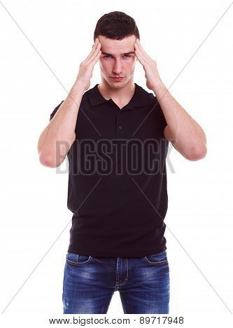 Man In Polo Shirt Has A Migraine