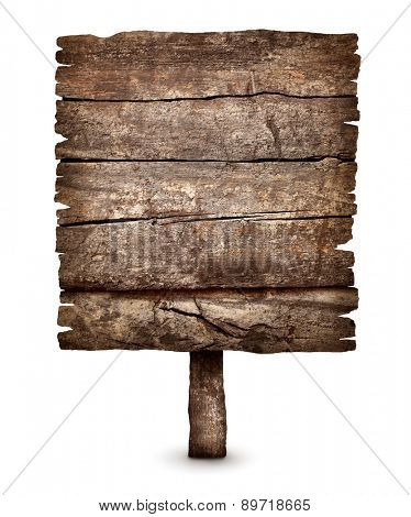 Old black weathered wooden sign board ready for message isolated on white