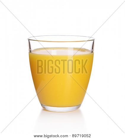 Glass of orange juice isolated on white
