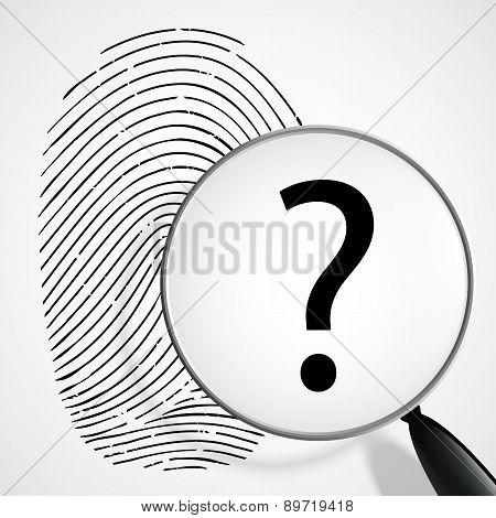 Magnifying Glass With A Question Mark And Fingerprint