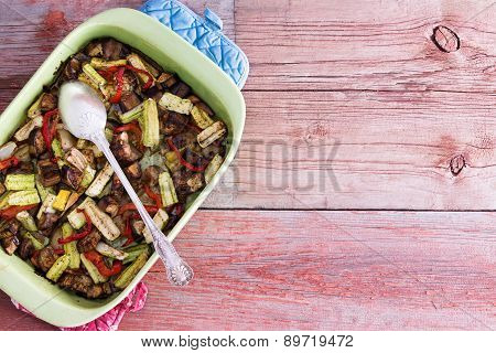 Dish Filled With Healthy Roasted Fresh Vegetables