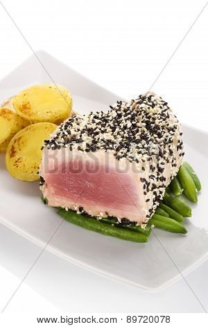 Tuna Steak With Beans And Potatoes.