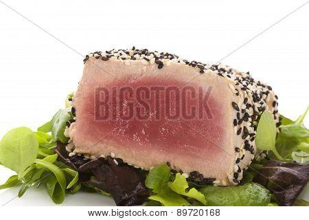 Delicious Tuna Steak Close Up.