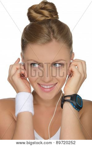 Woman With Headphones And Clock On Hand