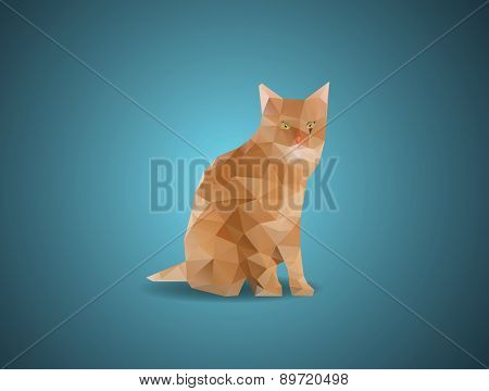 Low polygon cat  vector illustration concept.