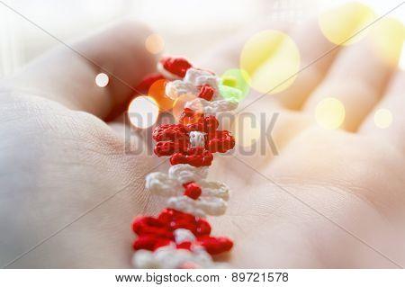 Braided Red And White String Bracelet