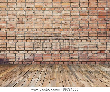 old room with brick wall, vintage background, vector