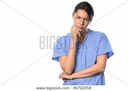 Despondent Young Female Doctor Or Nurse