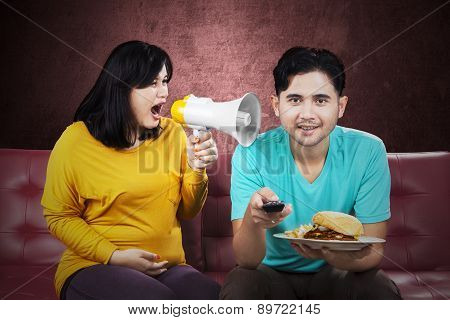 Pregnant Woman Yelling At Her Husband