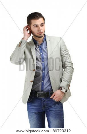 Portrait of young man isolated on white