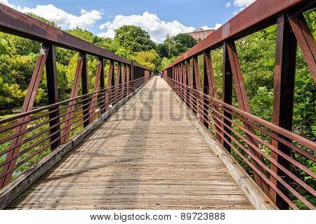 Walking Bridge Over The James River In Richmond Va.