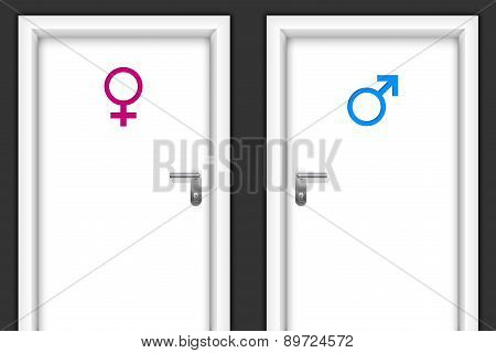 Restroom Doors With Gender Symbols