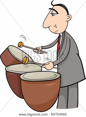 Drummer Musician Cartoon Illustration
