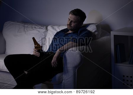 Unemployed Man Drinking Beer