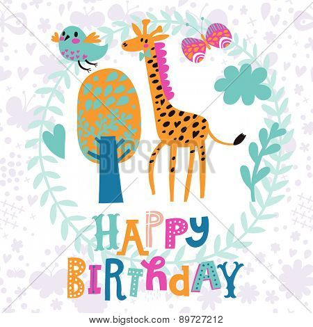 Cartoon funny giraffe congratulating happy birthday. Nice holiday card in vector