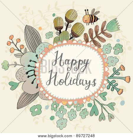 Lovely happy holidays concept floral design in vector. Awesome flowers made in watercolor technique. Bright romantic card with summer flowers and bee
