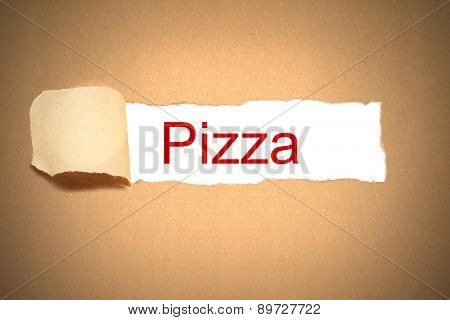 Brown Paper Box Torn To Reveal Pizza
