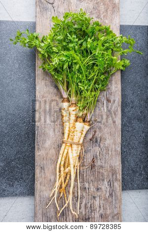 Fresh Parsley With Root On Table