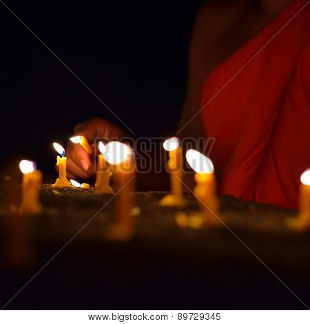Lighting Candle Of Buddhism