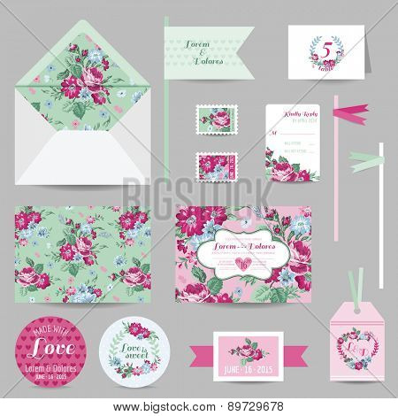 Set of Wedding Stationary - Invitation Card, Save the Date, RSVP - with Floral Blossom Background - in vector