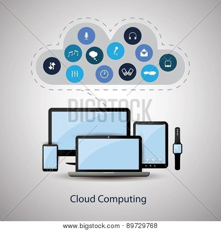 Cloud Computing Concept Design with Different Icons