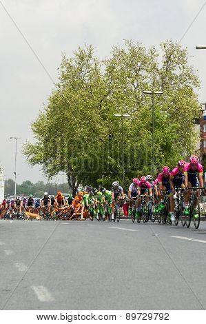 Istanbul, Turkey - May 03, 2015: Davide Rebellin crashed at the Tour of Turkey in Istanbul