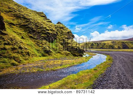 Summer blooming Iceland. Pakgil Canyon - green grass and moss on the rocks. At the bottom of canyon flows small fast creek