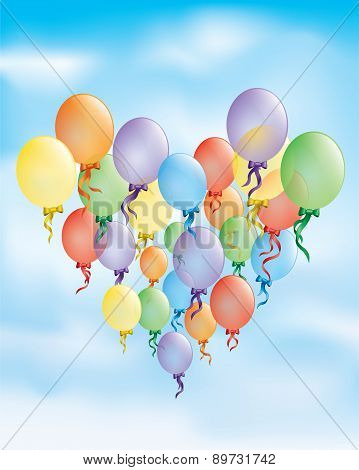 Birthday card, colored balloons vector background