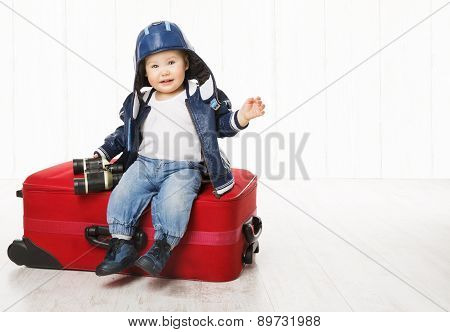 Baby And Suitcase, Kid Sitting On Luggage, Child Boy In Leather Jacket, Children Helme