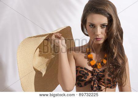 Girl With Bikini And Hat