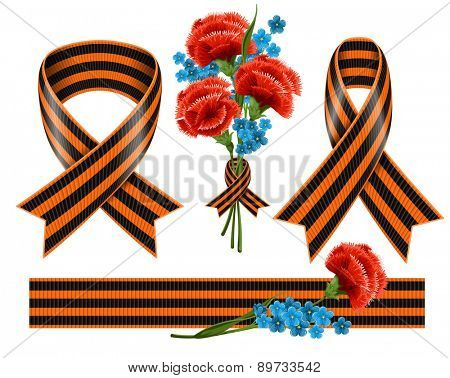 Set of St. George ribbons and a bouquet of red carnations with blue forget-me-not. Vector, isolated on white background.