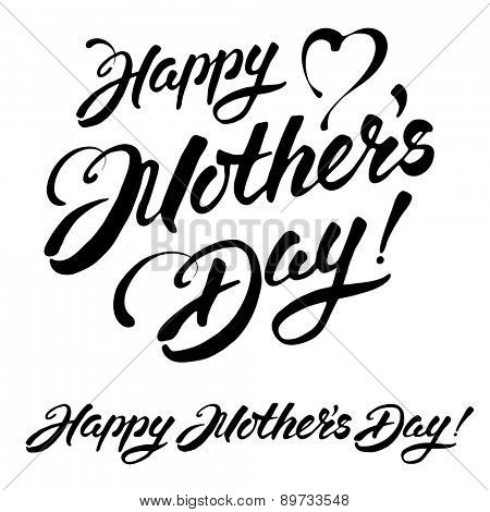 Mothers day vintage lettering design in two variations. Isolated on white background.