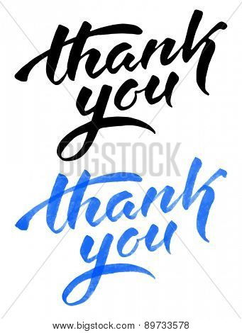 Vector handwritten calligraphy inscription in two various : blue grunge watercolor and black silhouette - Thank you. Isolated on white background.