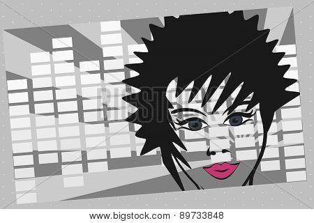 girl face against volume sign