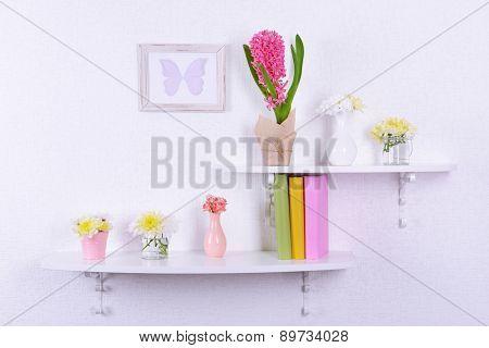 Flower on shelves on white wall background