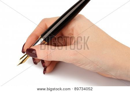 Fountain pen in female hand isolated on white