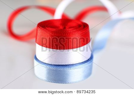 Colorful satin ribbons isolated on white