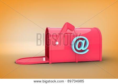 Red email post box against orange vignette