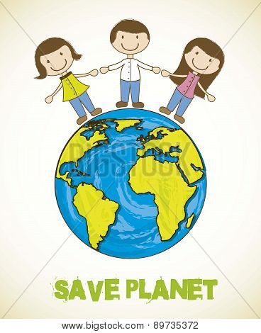 Cartoon Planet With People Save Planet Vector Illustration