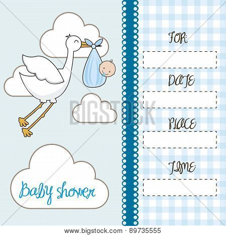 Blue Baby Shower Card With Stork With Baby Vector Illustration