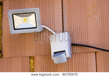 Security Led Light With Motion Dectector Or Sensor On The Wall