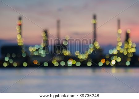 Out of focus Oil refinery twilight