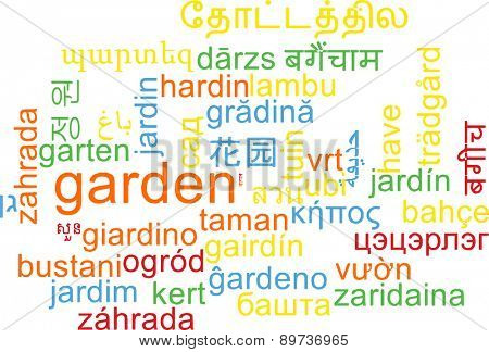 Background concept wordcloud multilanguage international many language illustration of garden