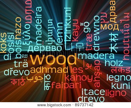 Background concept wordcloud multilanguage international many language illustration of wood glowing light