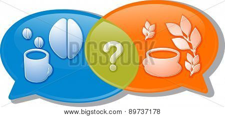 Illustration concept clipart speech bubble dialog conversation negotiation argument over coffee or tea beverage choice