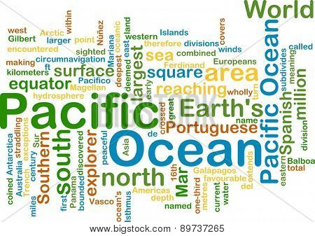 Background text pattern concept wordcloud illustration of pacific ocean